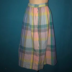 Multicolor Vintage Button Fly Skirt
